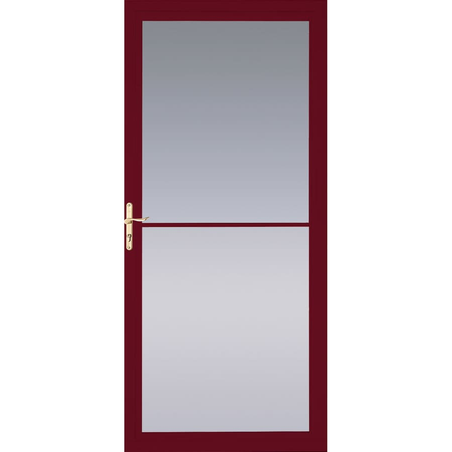 Pella Cranberry Full-View Tempered Glass Aluminum Retractable Screen Storm Door (Common: 32-in x 81-in; Actual: 31.75-in x 79.875-in)