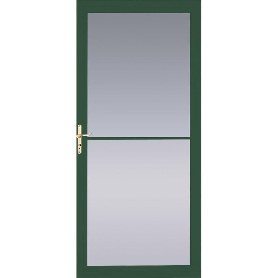 Pella Hartford Green Full-View Tempered Glass Aluminum Retractable Screen Storm Door (Common: 32-in x 81-in; Actual: 31.75-in x 79.875-in)