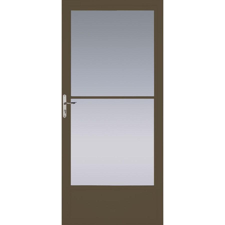 Pella Brown Mid-View Tempered Glass Aluminum Retractable Screen Storm Door (Common: 32-in x 81-in; Actual: 31.75-in x 79.875-in)