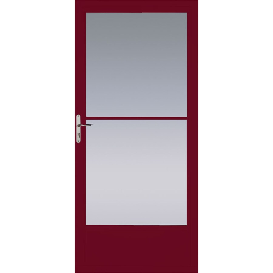 Pella Cranberry Mid-View Tempered Glass Aluminum Retractable Screen Storm Door (Common: 32-in x 81-in; Actual: 31.75-in x 79.875-in)