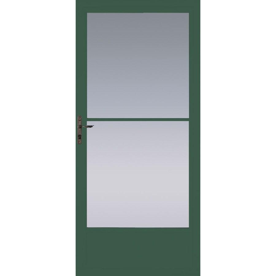 Pella Hartford Green Mid-View Tempered Glass Aluminum Retractable Screen Storm Door (Common: 36-in x 81-in; Actual: 35.75-in x 79.875-in)