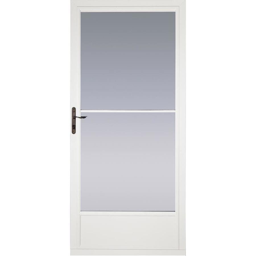 Shop pella white mid view tempered glass aluminum for Retractable glass doors