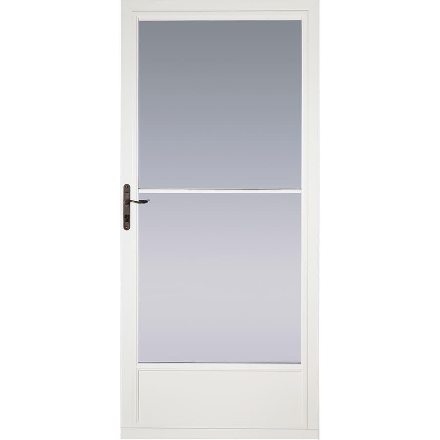 Pella White Mid-View Tempered Glass Aluminum Retractable Screen Storm Door (Common: 36-in x 81-in; Actual: 35.75-in x 79.875-in)
