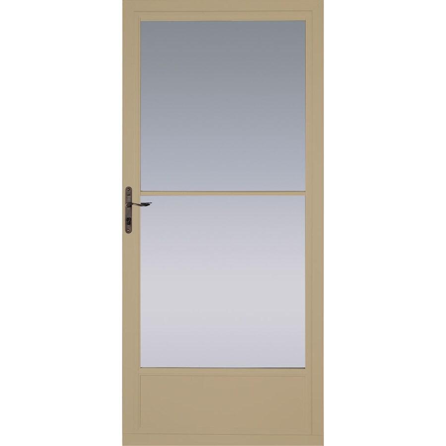 Pella Putty Mid-View Tempered Glass Aluminum Retractable Screen Storm Door (Common: 32-in x 81-in; Actual: 31.75-in x 79.875-in)