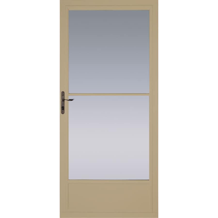 Pella Putty Mid-View Tempered Glass Aluminum Retractable Screen Storm Door (Common: 36-in x 81-in; Actual: 35.75-in x 79.875-in)