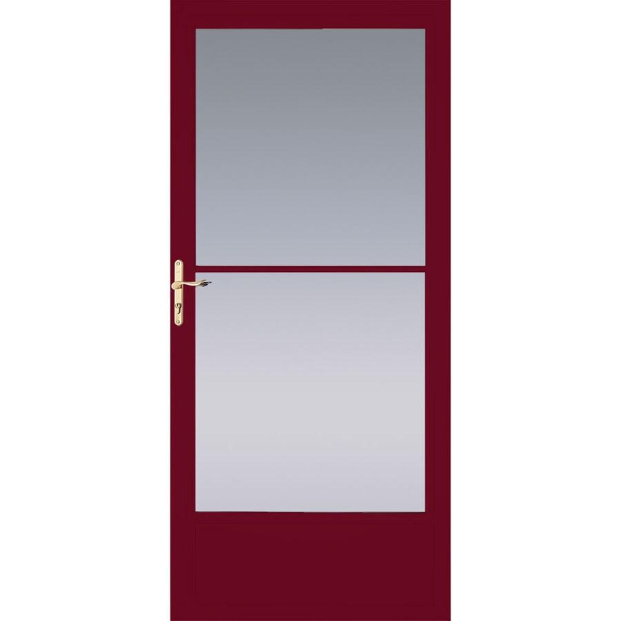 Pella Cranberry Mid-View Tempered Glass Aluminum Retractable Screen Storm Door (Common: 36-in x 81-in; Actual: 35.75-in x 79.875-in)