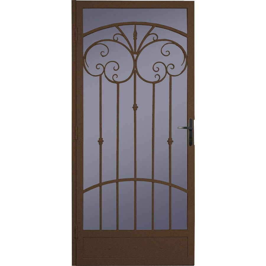 LARSON Palazzo Speckle Bronze Steel Recessed Mount Security Security Door (Common: 36-in x 81-in; Actual: 35.75-in x 79.75-in)