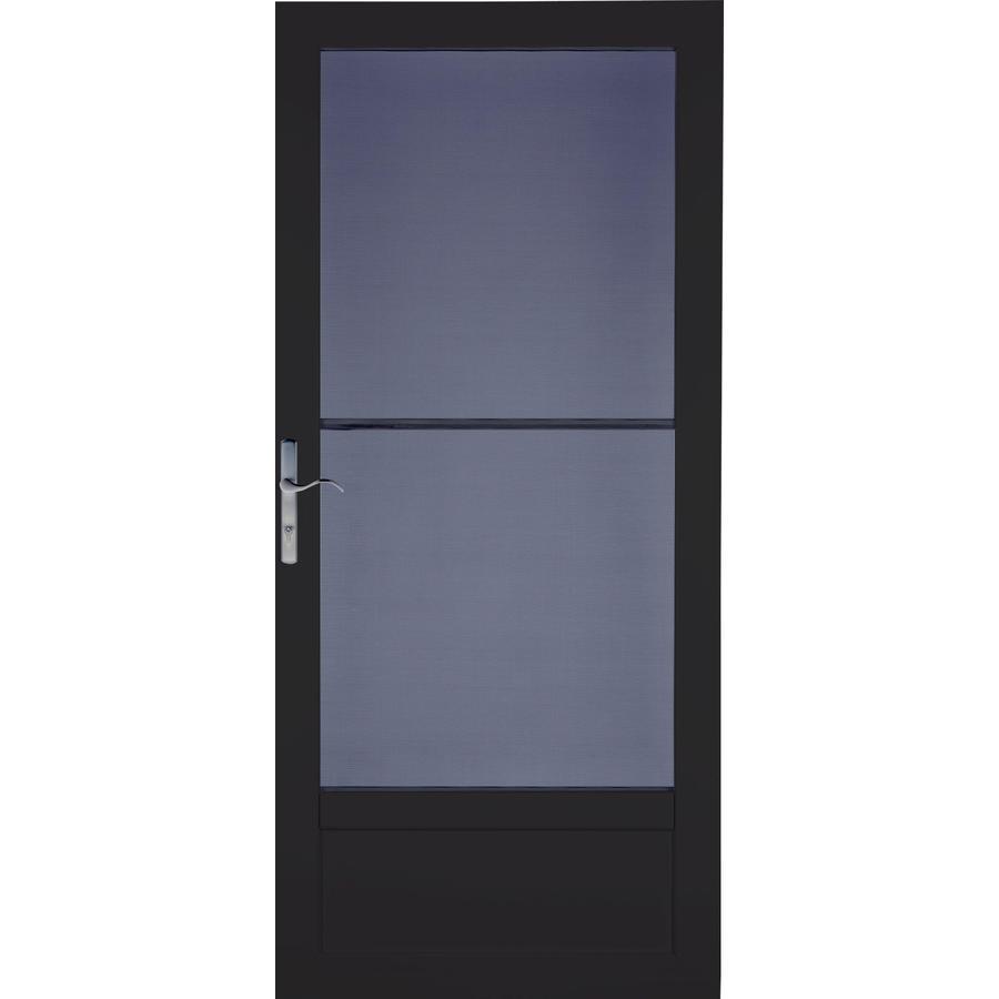 LARSON Patriot Black Aluminum Security Door (Common: 36-in x 81-in; Actual: 35.75-in x 79.75-in)