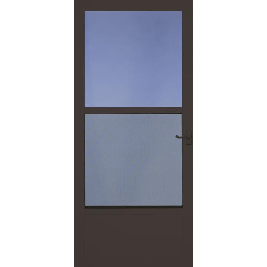 LARSON Southport Brown Mid-View Tempered Glass Aluminum Standard Half Screen Storm Door (Common: 36-in x 81-in; Actual: 35.75-in x 79.75-in)