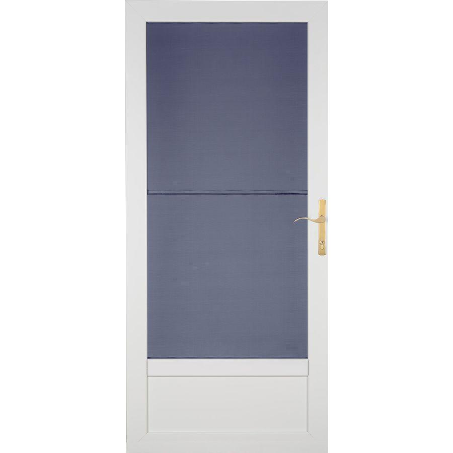 LARSON Patriot White Aluminum Security Door (Common: 36-in x 81-in; Actual: 35.75-in x 79.75-in)