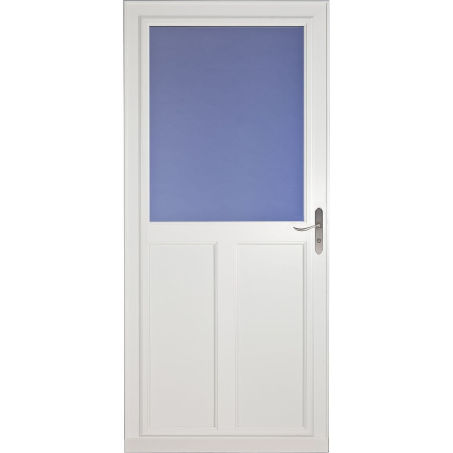 Shop larson tradewinds white high view tempered glass for Disappearing screen door reviews