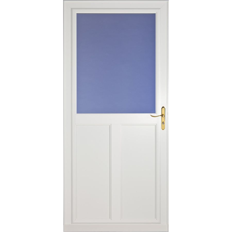 Shop larson tradewinds white high view tempered glass for Disappearing screen doors lowes