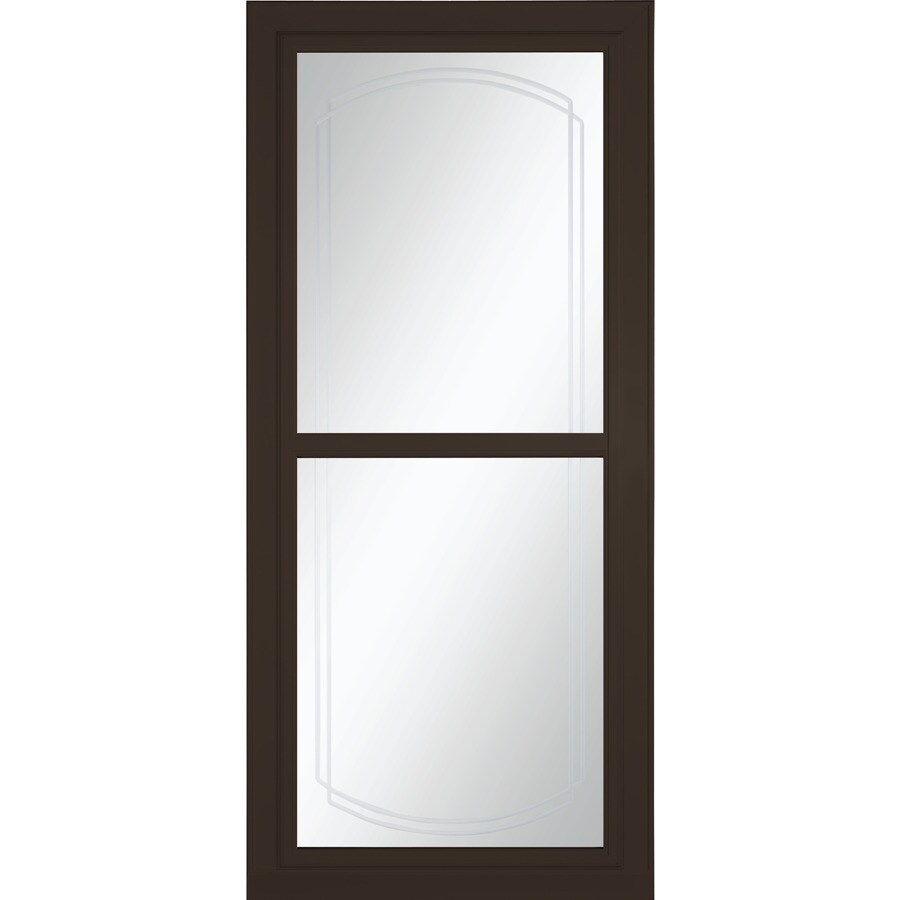 LARSON Tradewinds Selection Brown Full-View Beveled Safety Aluminum Retractable Screen Storm Door (Common: 36-in x 81-in; Actual: 35.75-in x 79.75-in)