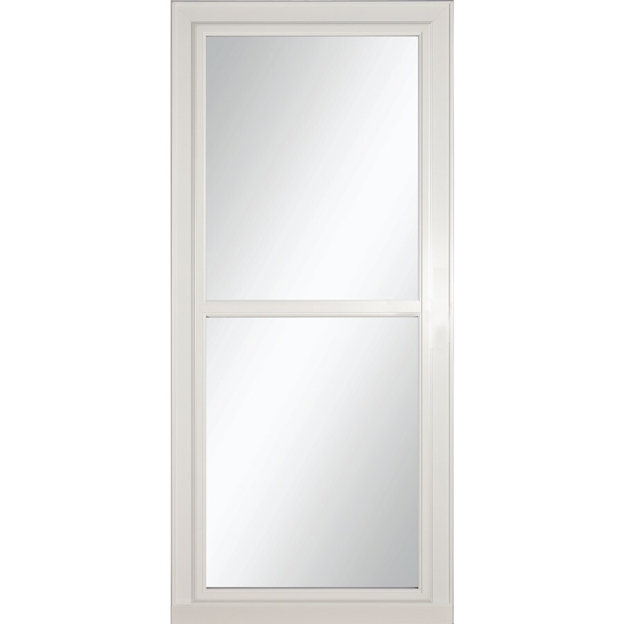 LARSON Tradewinds Selection White Full-View Tempered Glass Aluminum Retractable Screen Storm Door (Common: 36-in x 81-in; Actual: 35.75-in x 79.75-in)
