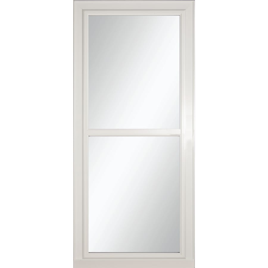 LARSON Tradewinds Selection White Full-View Tempered Glass Aluminum Retractable Screen Storm Door (Common: 34-in x 81-in; Actual: 33.75-in x 79.75-in)