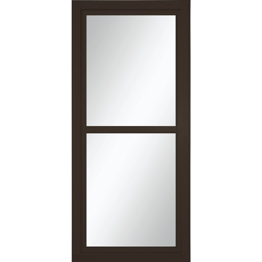 LARSON Tradewinds Selection Brown Full-View Tempered Glass Aluminum Retractable Screen Storm Door (Common: 36-in x 81-in; Actual: 35.75-in x 79.75-in)
