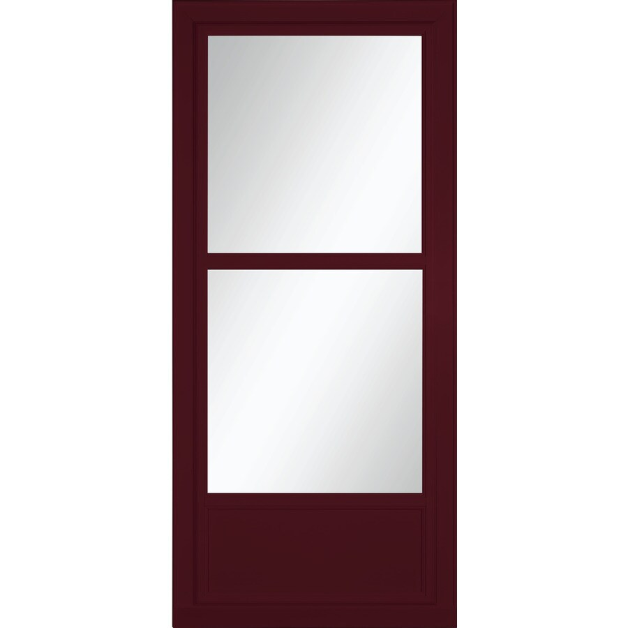 LARSON Tradewinds Selection Cranberry Mid-View Tempered Glass Aluminum Retractable Screen Storm Door (Common: 32-in x 81-in; Actual: 31.75-in x 79.75-in)