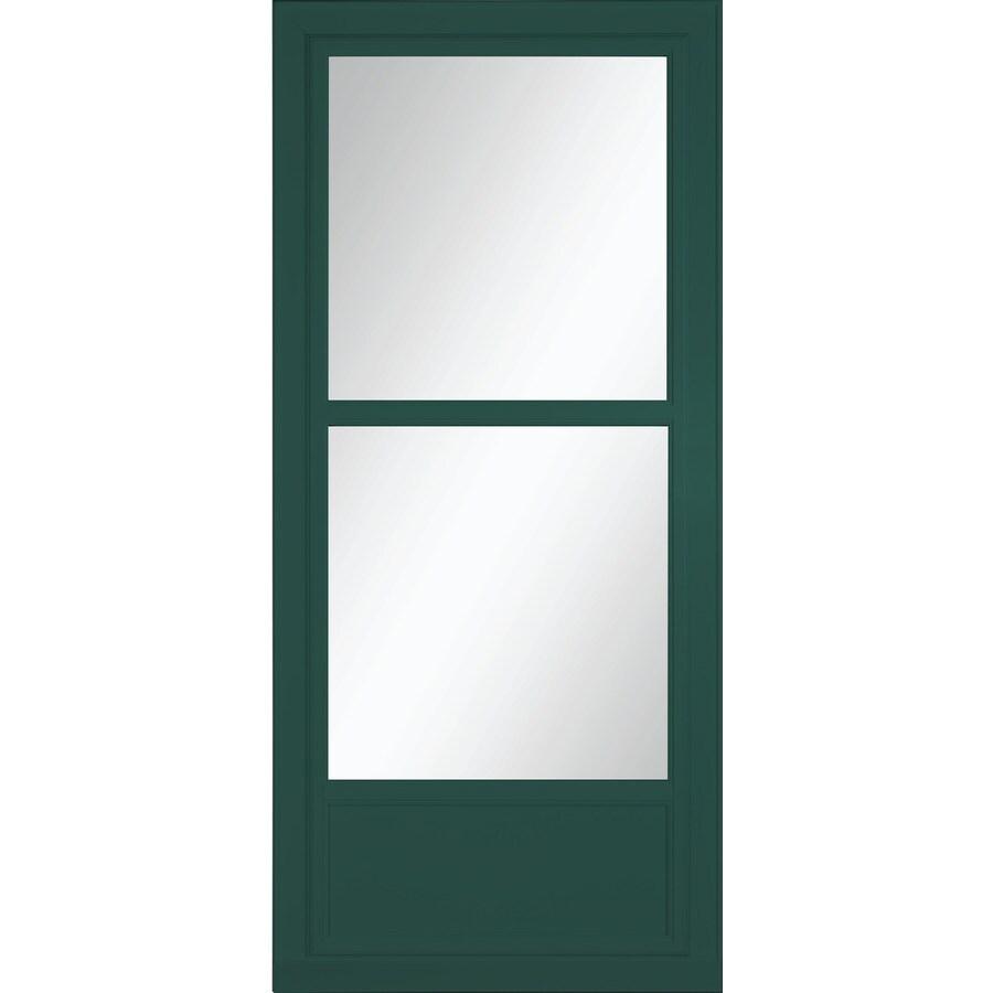 LARSON Tradewinds Selection Green Mid-View Tempered Glass Aluminum Retractable Screen Storm Door (Common: 36-in x 81-in; Actual: 35.75-in x 79.75-in)