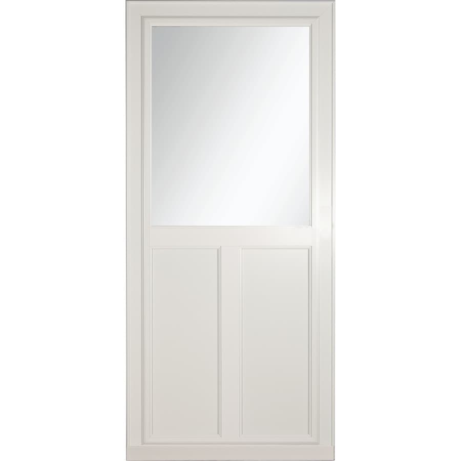 Shop larson tradewinds selection white high view tempered for Disappearing screen doors lowes