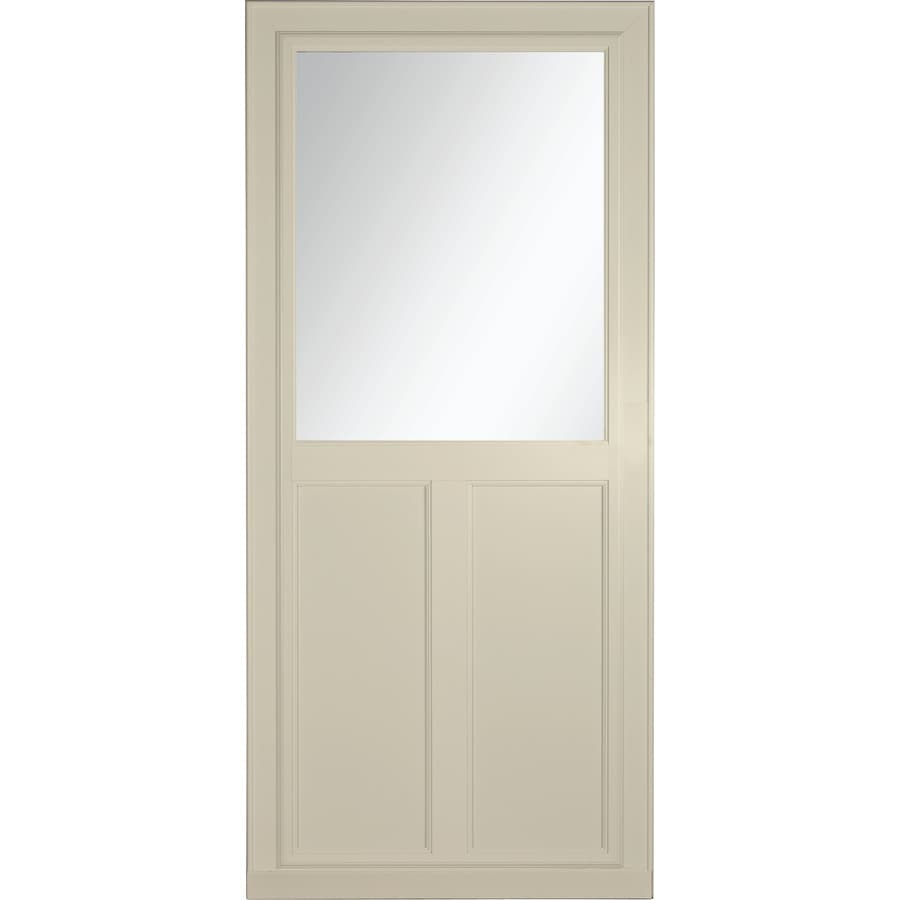 Shop larson tradewinds selection almond high view tempered for Retractable glass doors