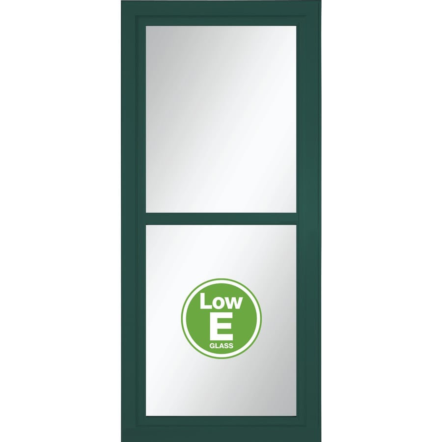 LARSON Tradewinds Selection Green Full-View Tempered Glass Aluminum Retractable Screen Storm Door (Common: 32-in x 81-in; Actual: 31.75-in x 79.75-in)