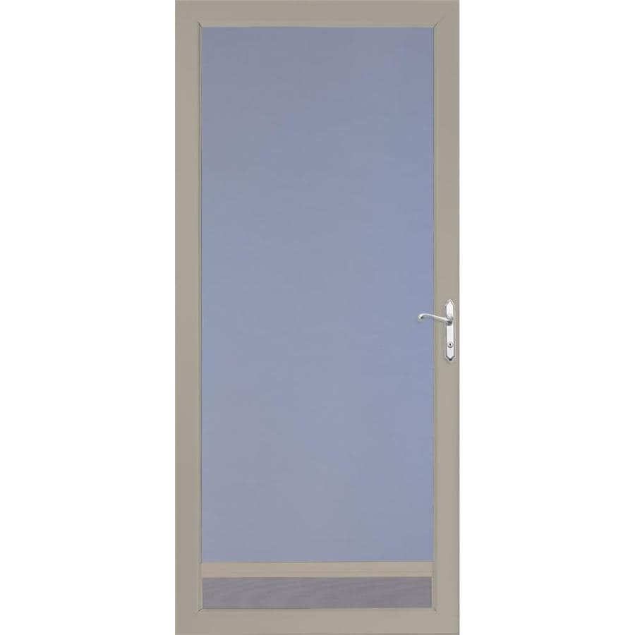 Shop larson nuvent sandstone full view tempered aluminum for Full glass screen door