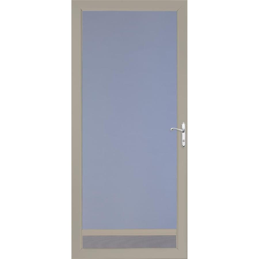 LARSON NuVent Sandstone Full-View Tempered Aluminum Glass and Interchangeable Screen Storm Door (Common: 36-in x 81-in; Actual: 35.75-in x 79.75-in)