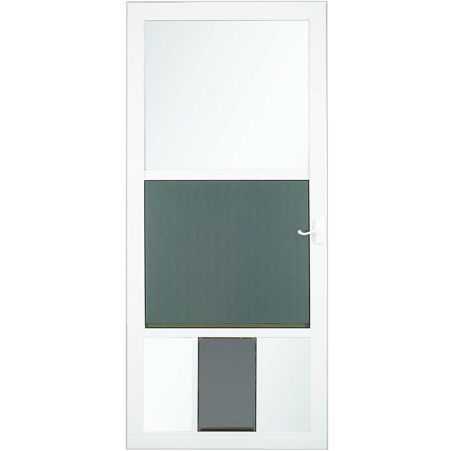 LARSON PetView White Mid-View Tempered Glass Aluminum Pet Door Storm Door (Common: 32-in x 81-in; Actual: 31.75-in x 79.75-in)