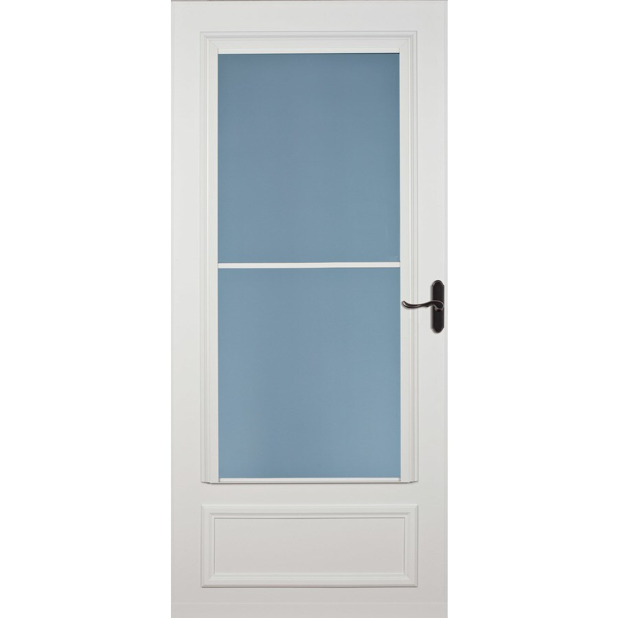 LARSON Savannah White Mid-View Tempered Glass Wood Core Retractable Screen Storm Door (Common: 36-in x 81-in; Actual: 35.75-in x 79.875-in)