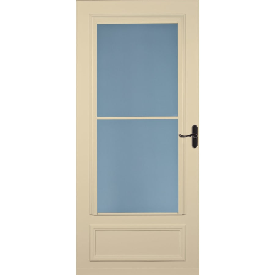 LARSON Savannah Almond Mid-View Tempered Glass Wood Core Retractable Screen Storm Door (Common: 32-in x 81-in; Actual: 31.75-in x 79.875-in)