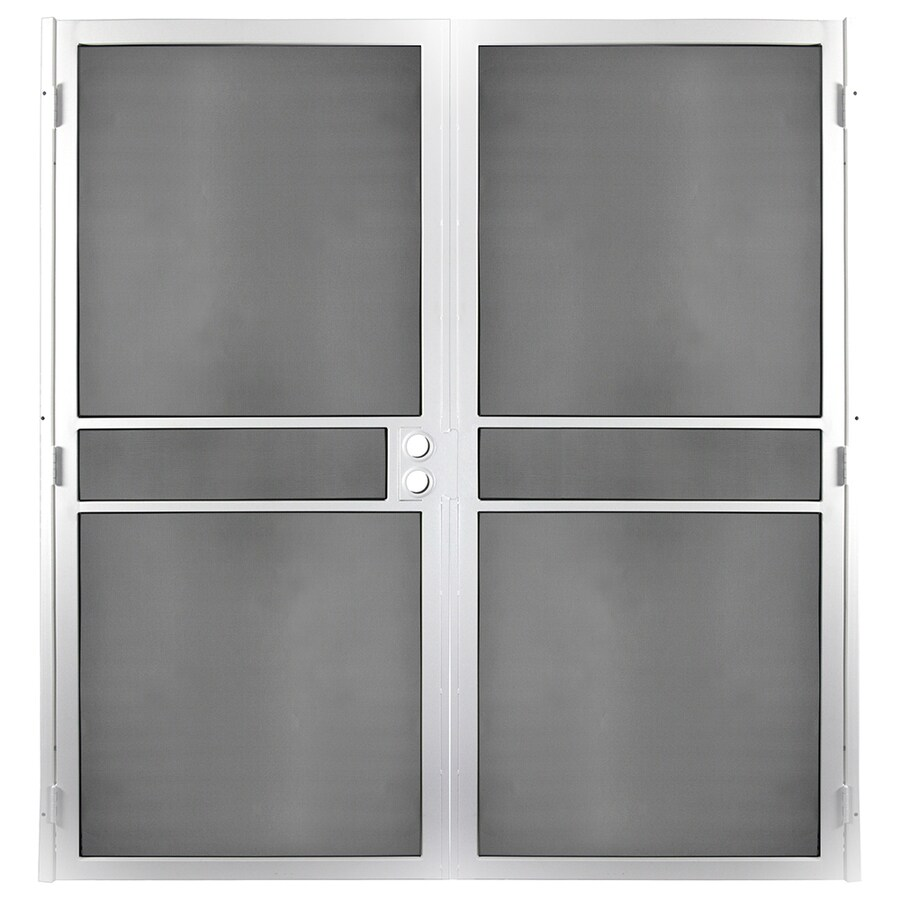 Gatehouse Pasadena White Steel Surface Mount Double Security Door (Common: 72-in x 81-in; Actual: 74.75-in x 81.75-in)