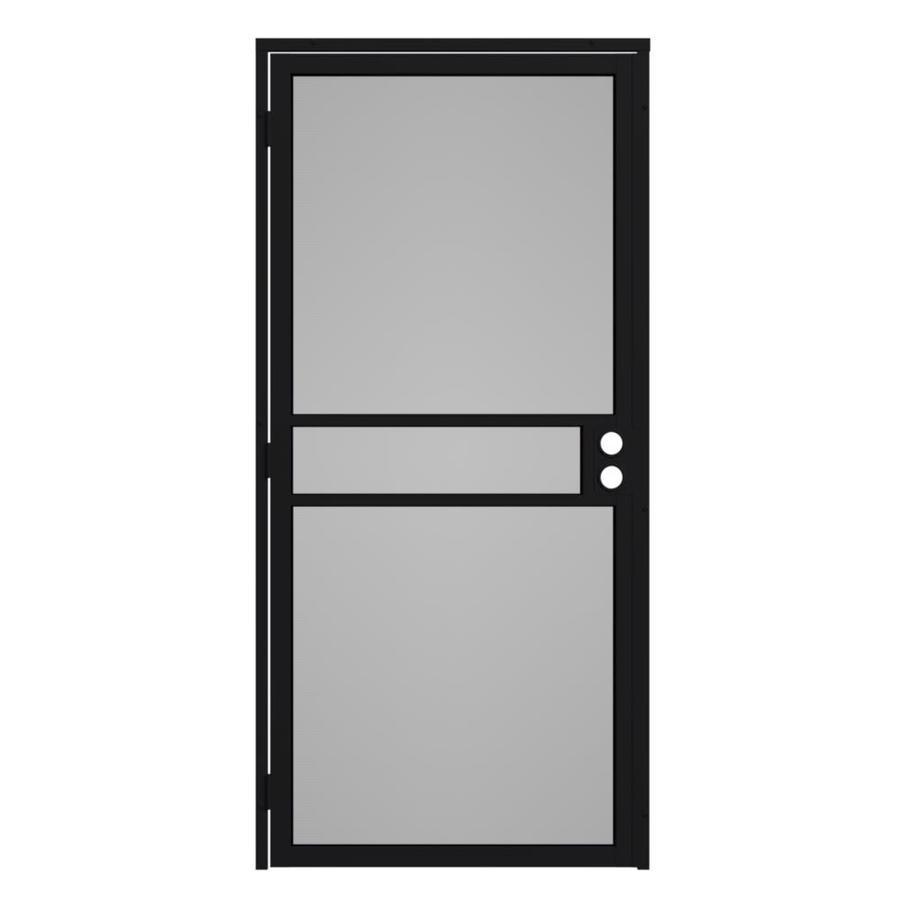 Gatehouse Pasadena Black Steel Surface Mount Single Security Door (Common: 32-in x 81-in; Actual: 35-in x 81.75-in)