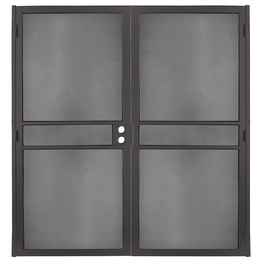 Gatehouse Pasadena Bronze Steel Surface Mount Double Security Door (Common: 72-in x 81-in; Actual: 74.75-in x 81.75-in)