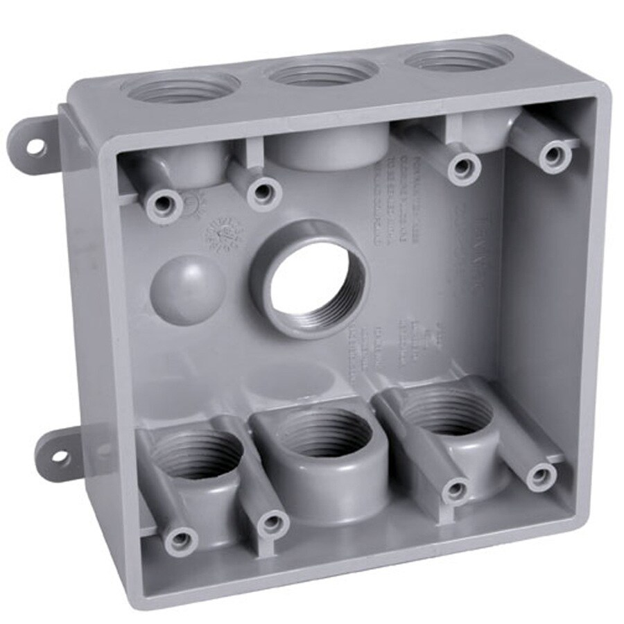 Hubbell TayMac 2-Gang Gray PVC Weatherproof Exterior/Interior New Work/Old Work Standard Switch/Outlet Wall Electrical Box