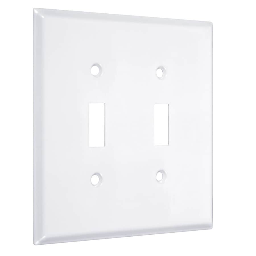 Hubbell TayMac 2-Gang White Double Toggle Wall Plate