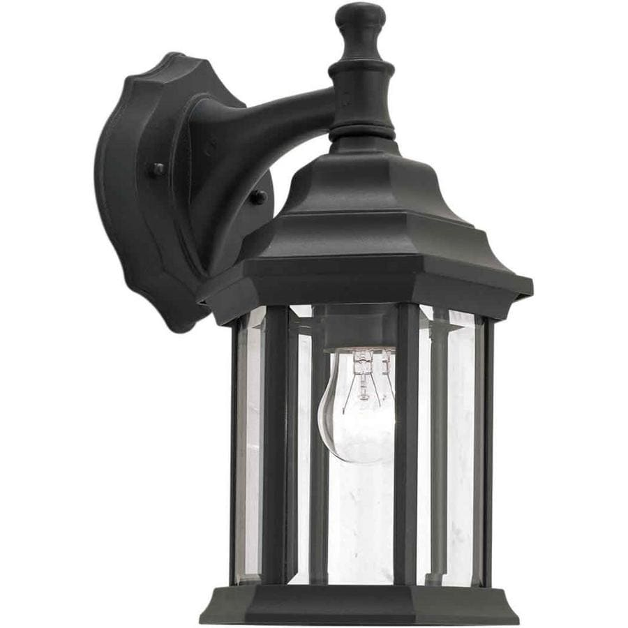 12-in H Black Outdoor Wall Light