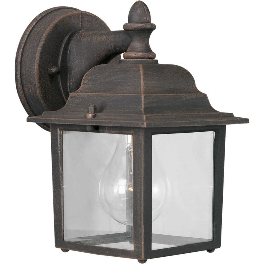 shop 9 in h painted rust outdoor wall light at. Black Bedroom Furniture Sets. Home Design Ideas