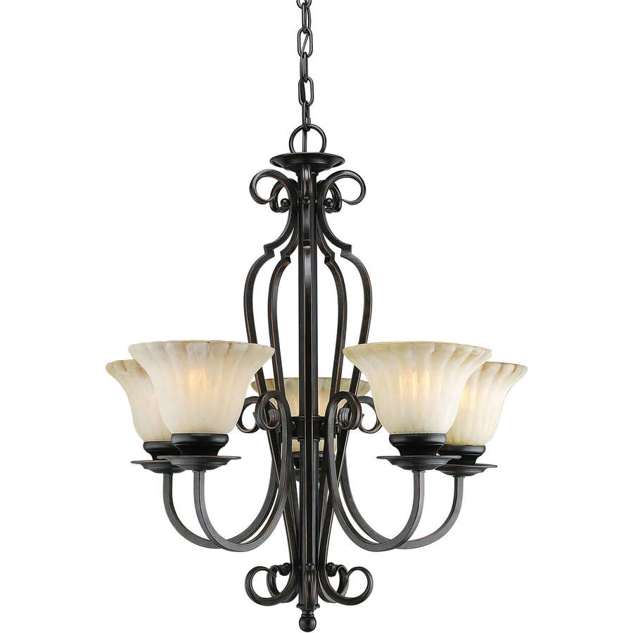 Shandy 23-in 5-Light Bordeaux Tinted Glass Candle Chandelier