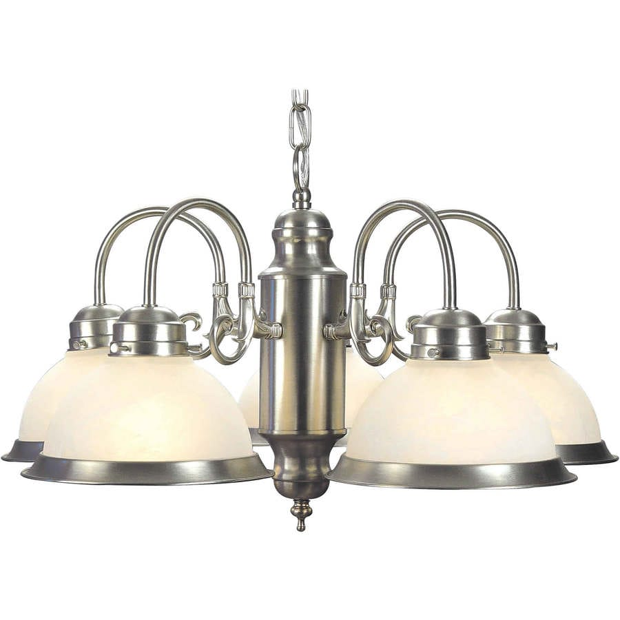 Shandy 23-in 5-Light Brushed Nickel Marbleized Glass Candle Chandelier