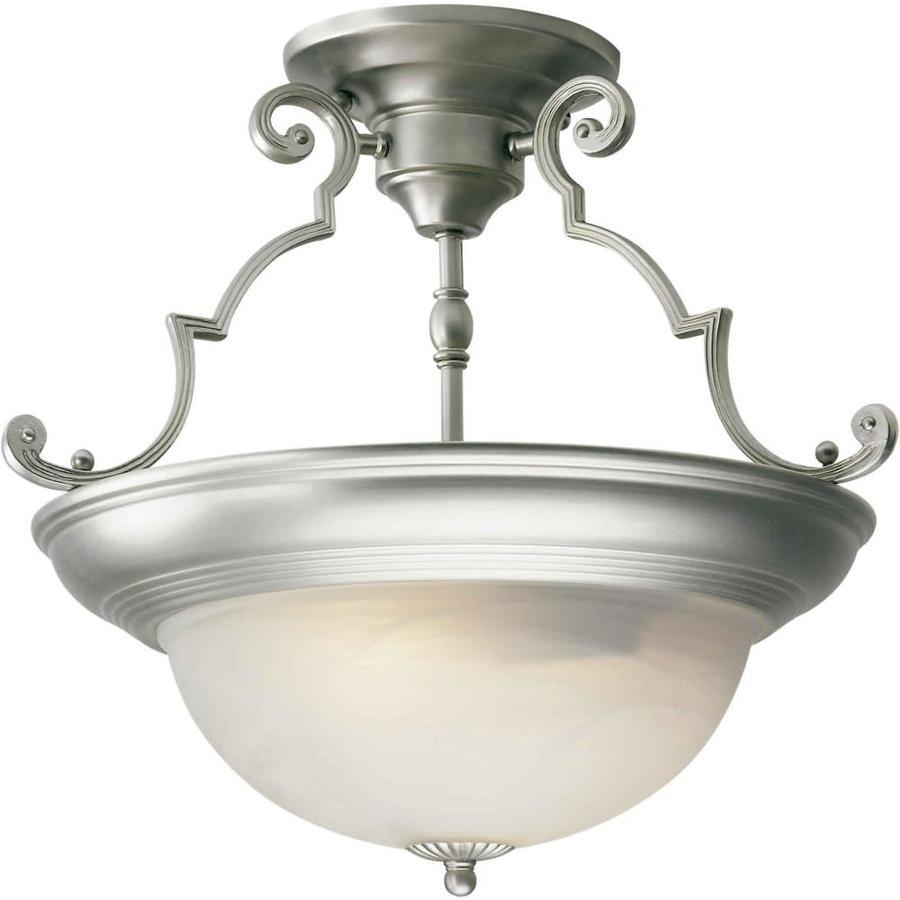15-in W Brushed Nickel Marbleized Semi-Flush Mount Light