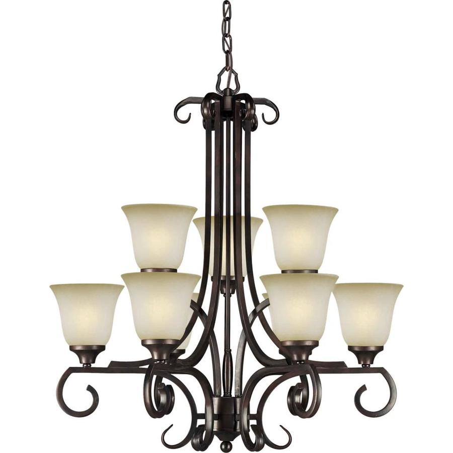 Shandy 28-in 9-Light Antique Bronze Tinted Glass Tiered Chandelier