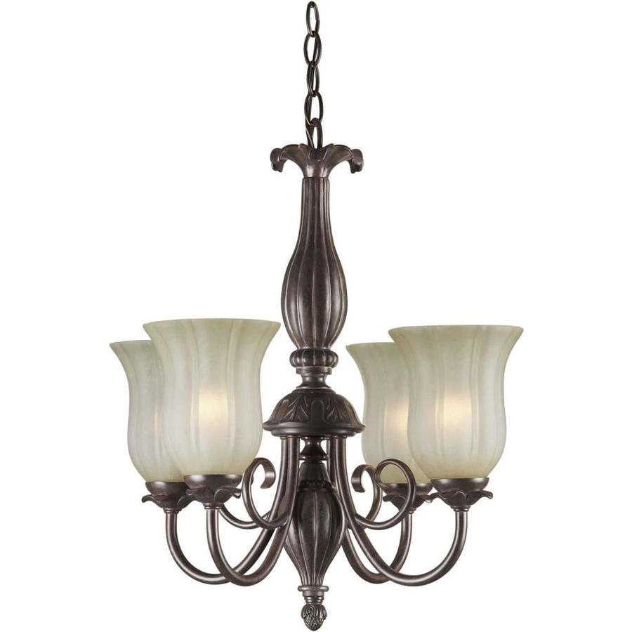 Shandy 20-in 4-Light Black Cherry Tinted Glass Candle Chandelier