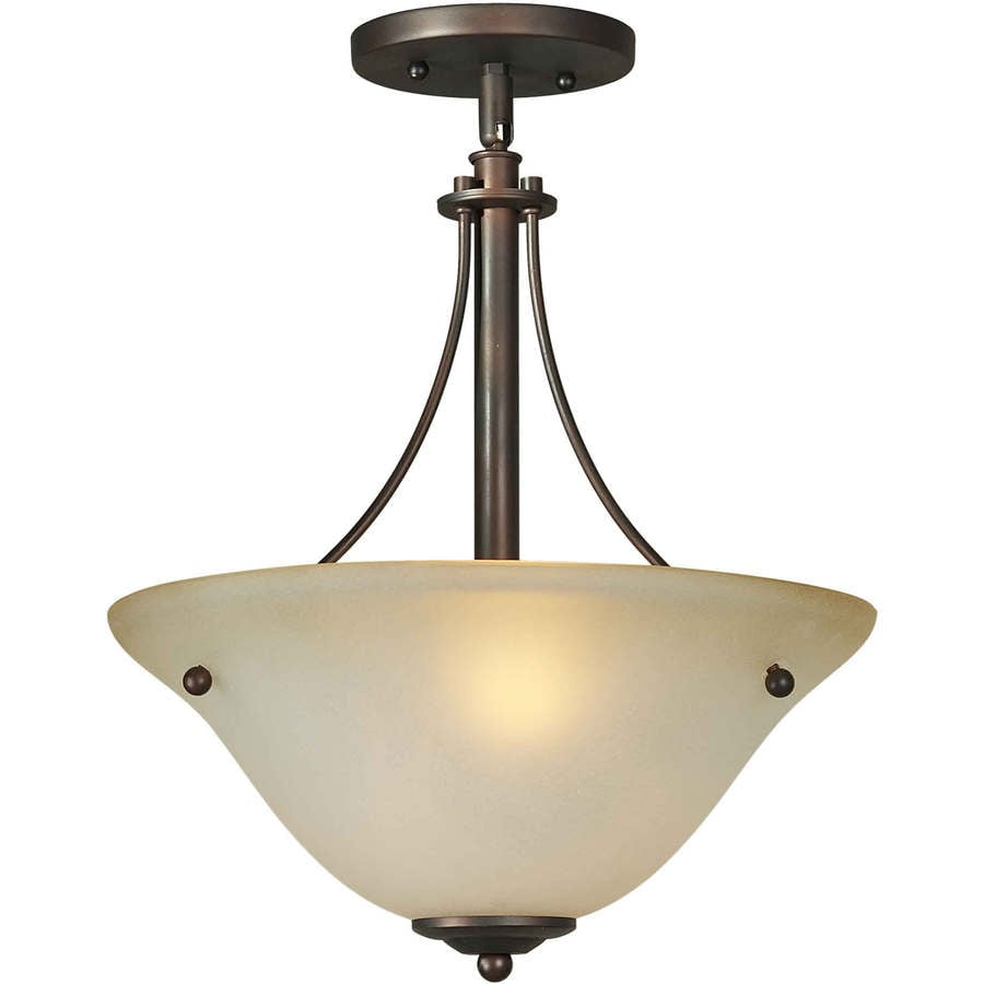 14-in W Antique Bronze Tea-Stained Glass Semi-Flush Mount Light