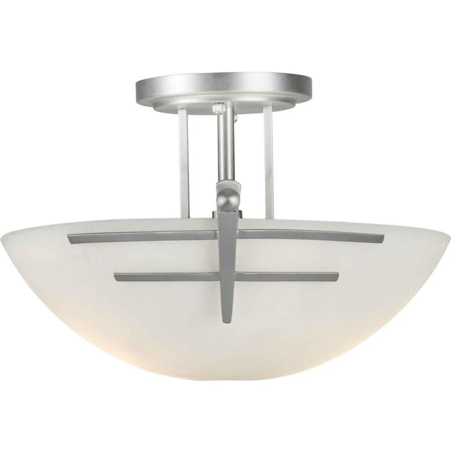 15-in W Brushed Nickel Frosted Glass Semi-Flush Mount Light