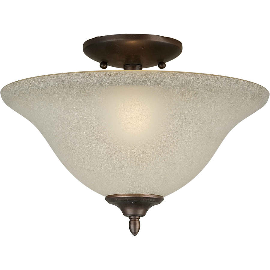 13-in W Antique Bronze Frosted Glass Semi-Flush Mount Light