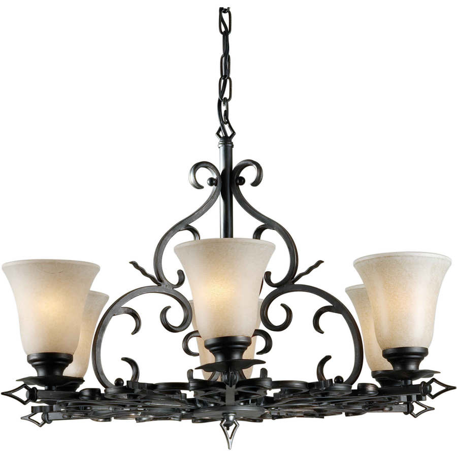 Shandy 29-in 6-Light Bordeaux Tinted Glass Candle Chandelier