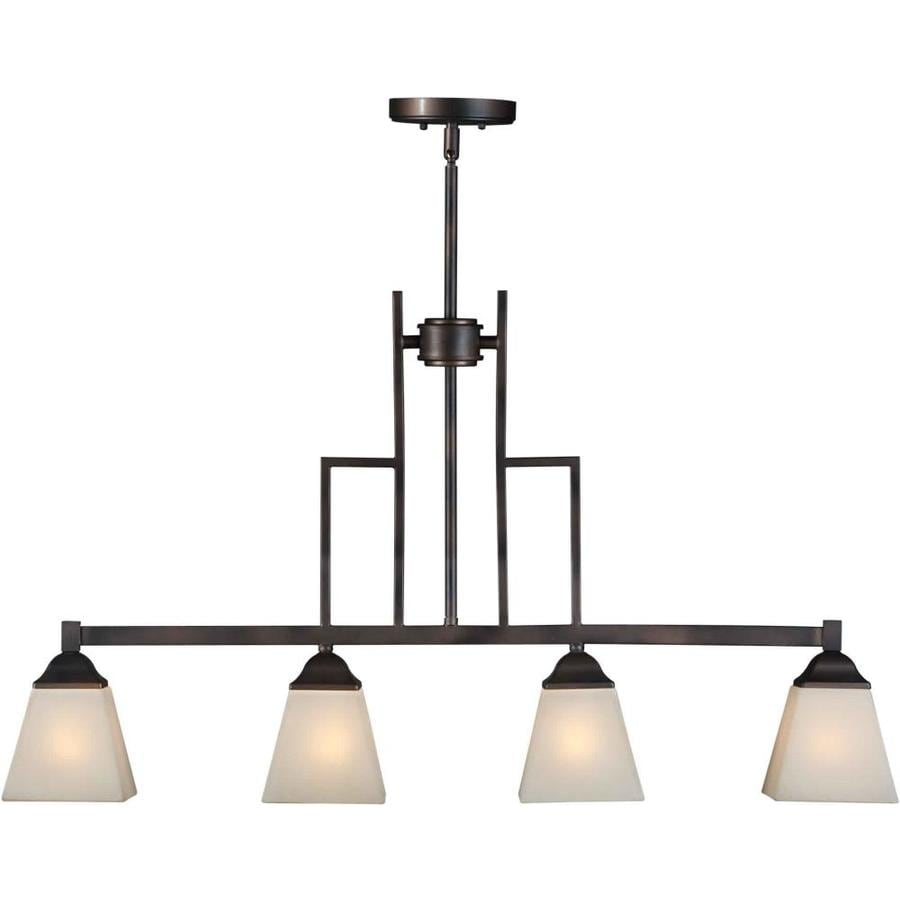Shandy 5-in W 4-Light Antique Bronze Kitchen Island Light with Frosted Shade