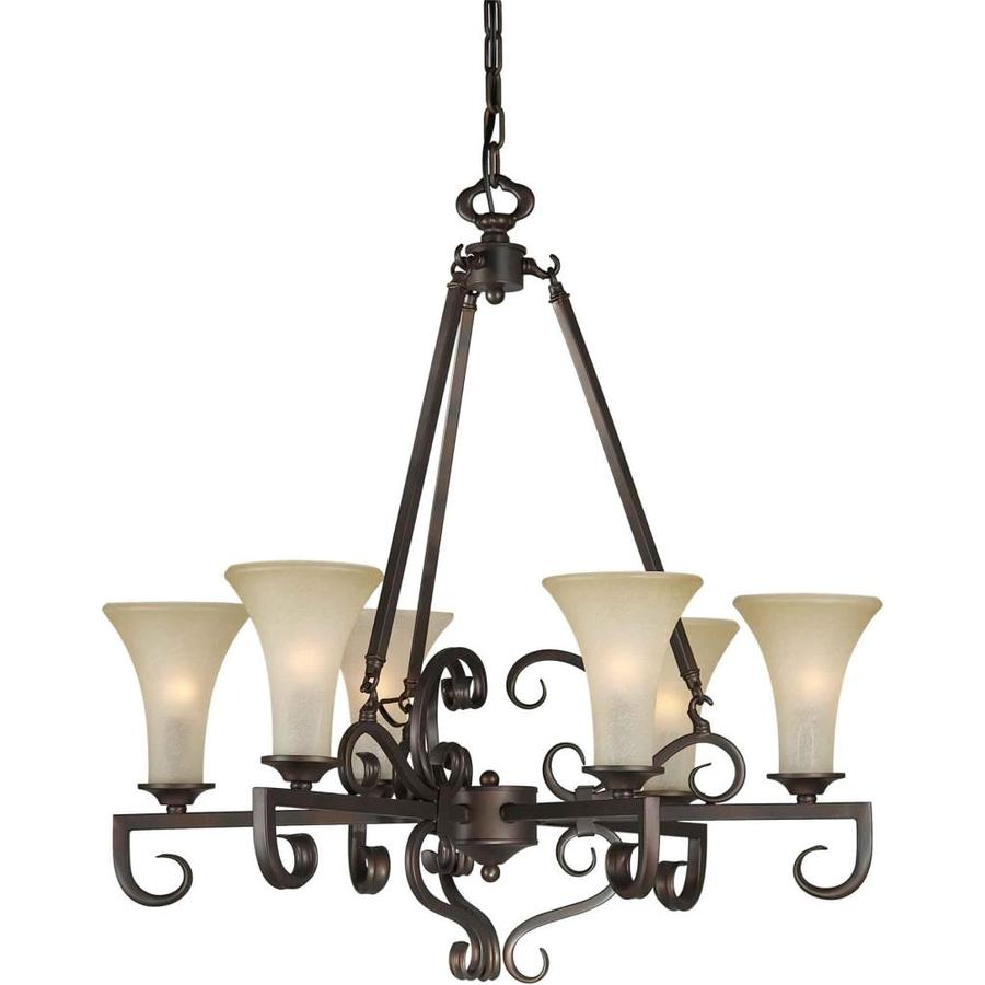 Shandy 27-in 6-Light Antique Bronze Tinted Glass Candle Chandelier