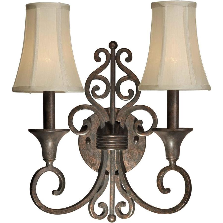 Shop Shandy 14.25-in W 2-Light Black Cherry Arm Hardwired Wall Sconce at Lowes.com