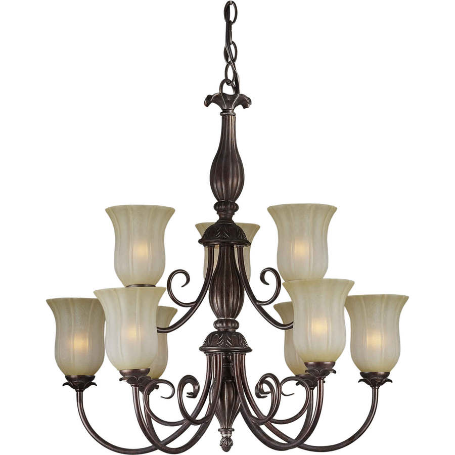 Shandy 30-in 9-Light Black Cherry Tinted Glass Candle Chandelier